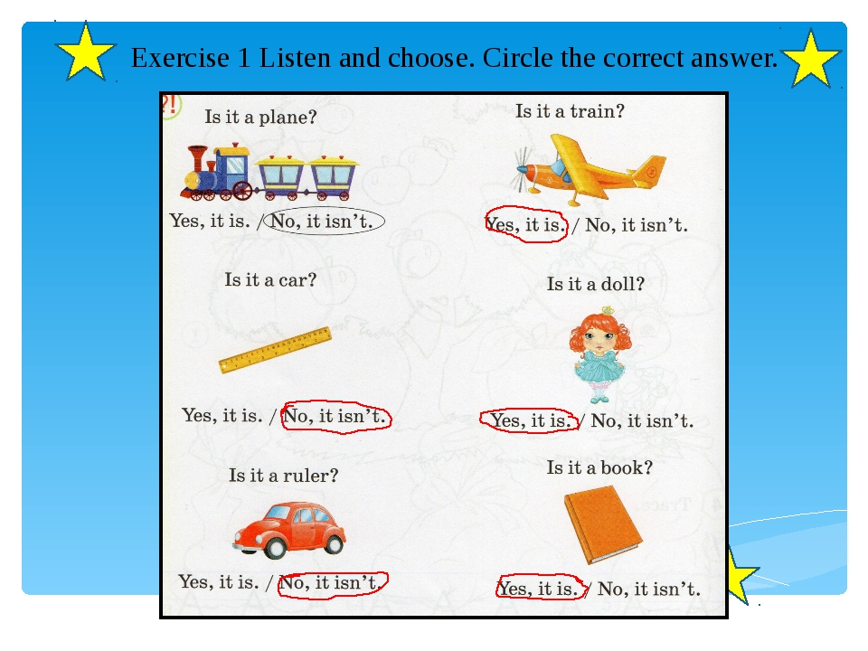 Exercise 1 Listen and choose. Circle the correct answer.