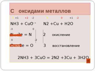С оксидами металлов -3 +1 +2 -2 0 0 +1 -2 NH3 + CuO N2 +Cu + H2O -3 0 N – 3e
