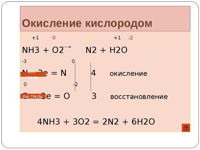 Окисление кислородом -3 +1 0 0 +1 -2 NH3 + O2 N2 + H2O -3 0 N – 3e = N 4 окис...