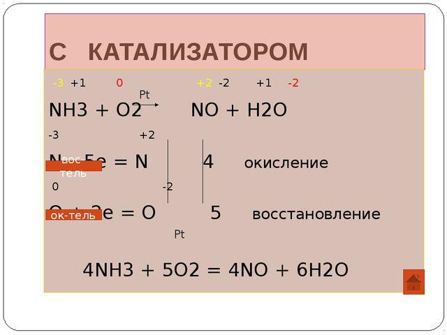 С КАТАЛИЗАТОРОМ -3 +1 0 +2 -2 +1 -2 NH3 + O2 NO + H2O -3 +2 N – 5e = N 4 окис...