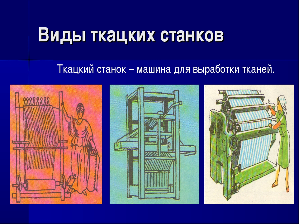 Виды ткацких станков Ткацкий станок – машина для выработки тканей.