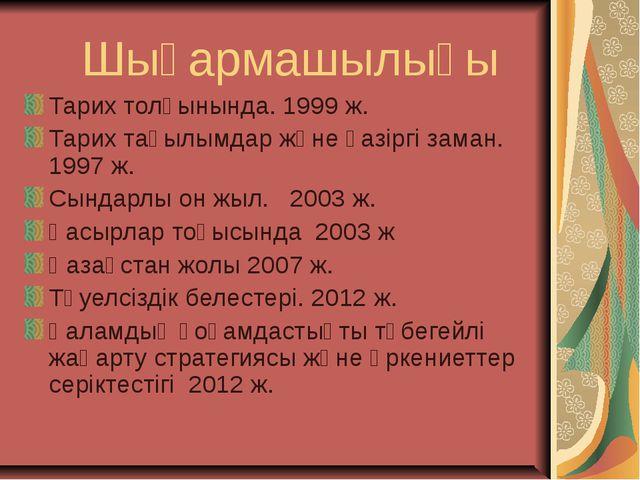 Шығармашылығы Тарих толқынында. 1999 ж. Тарих тағылымдар және қазіргі заман....