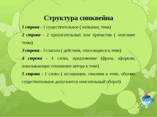 Структура синквейна 1 строка - 1 существительное ( название, тема) 2 строк