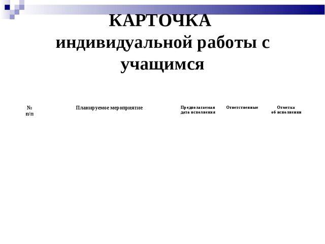 КАРТОЧКА индивидуальной работы с учащимся № п/пПланируемое мероприятиеПред...