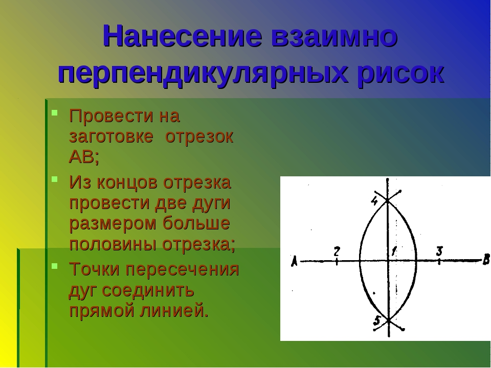 Нанесение взаимно перпендикулярных рисок Провести на заготовке отрезок АВ; Из...