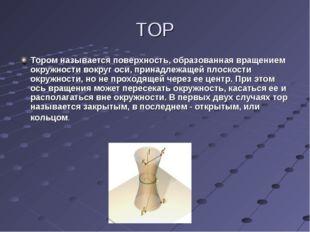 ТОР Тором называется поверхность, образованная вращением окружности вокруг ос