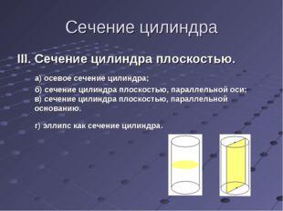 Сечение цилиндра III. Сечение цилиндра плоскостью. а) осевое сечение цилиндра