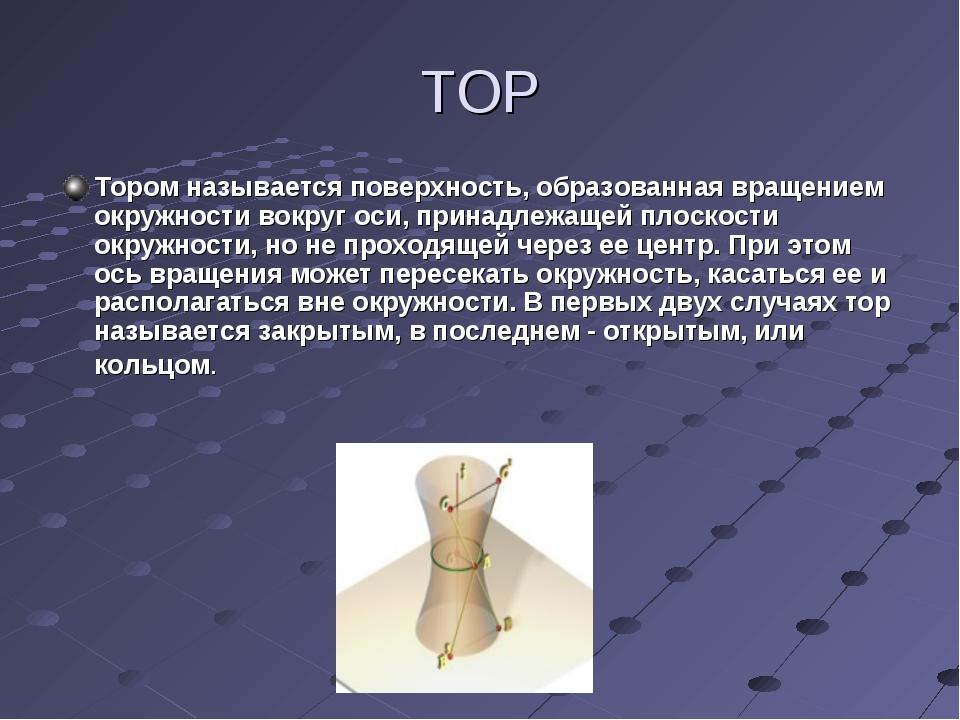 ТОР Тором называется поверхность, образованная вращением окружности вокруг ос...