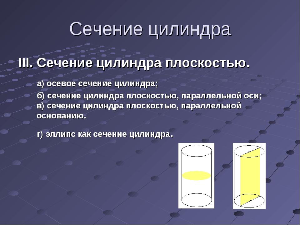 Сечение цилиндра III. Сечение цилиндра плоскостью. а) осевое сечение цилиндра...