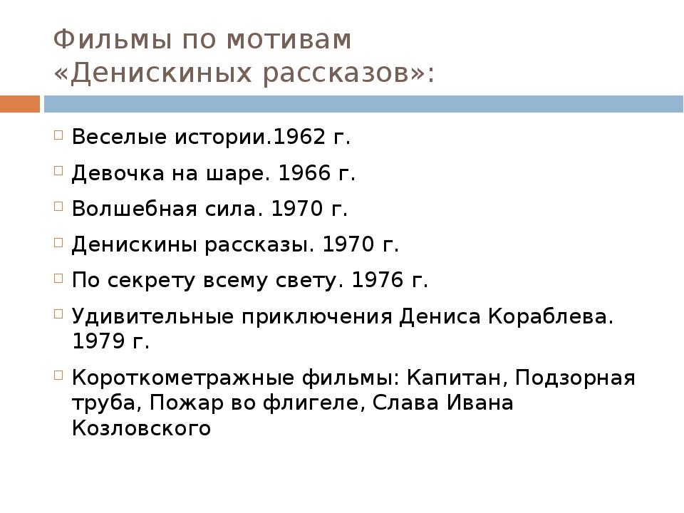 Фильмы по мотивам «Денискиных рассказов»: Веселые истории.1962 г. Девочка на...
