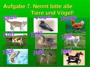 Aufgabe 7. Nennt bitte alle Tiere und Vögel!