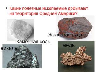 Какие полезные ископаемые добывают на территории Средней Америки? никель медь