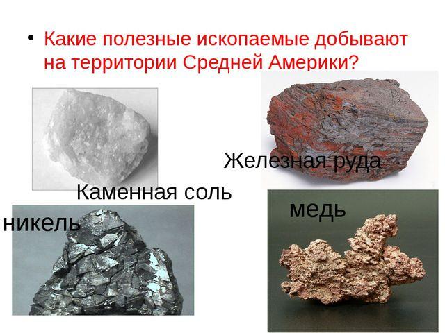 Какие полезные ископаемые добывают на территории Средней Америки? никель медь...