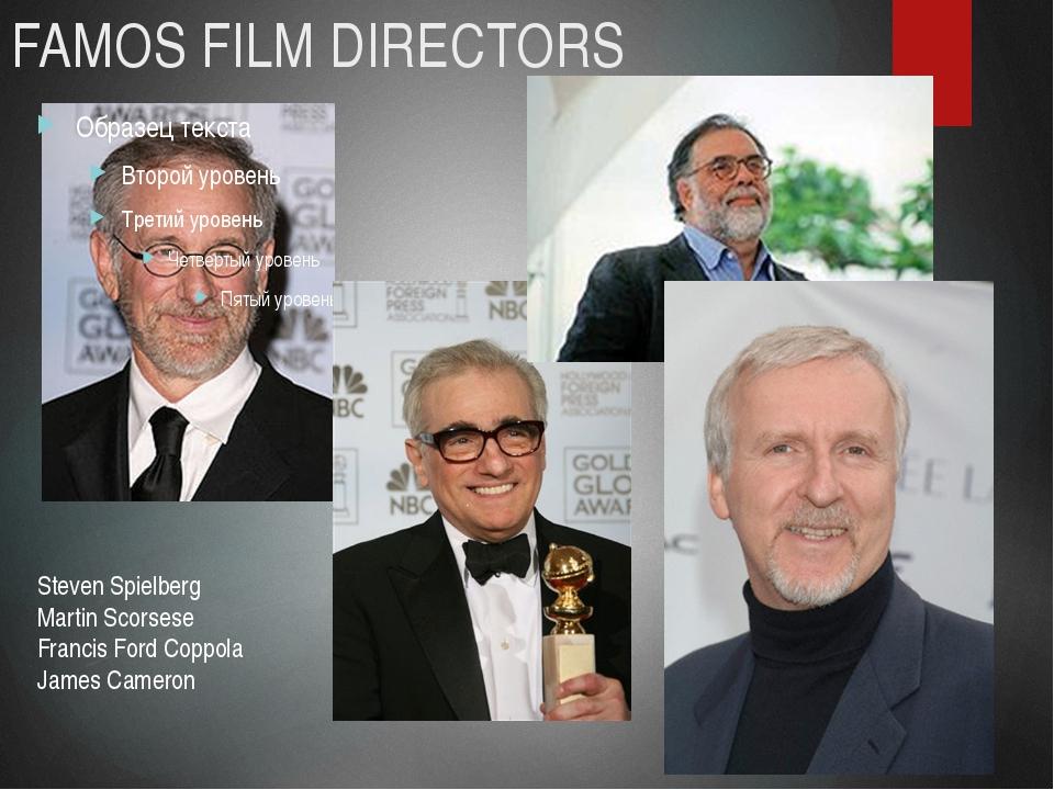 FAMOS FILM DIRECTORS Steven Spielberg Martin Scorsese Francis Ford Coppola Ja...