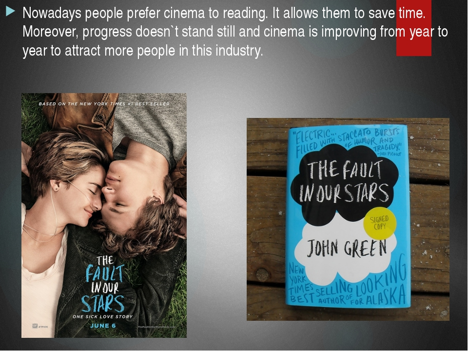 Nowadays people prefer cinema to reading. It allows them to save time. Moreov...