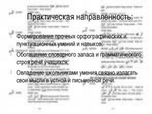 Практическая направленность: Формирование прочных орфографических и пунктуаци