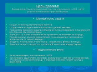Цель проекта: Формирование экологической грамотности воспитанников с ОВЗ, чер