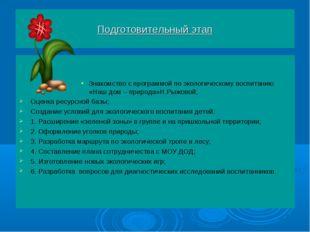 Подготовительный этап Знакомство с программой по экологическому воспитанию «Н