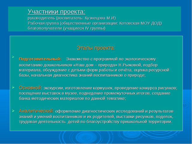 Участники проекта: руководитель (воспитатель: Кузнецова М.И) Рабочая группа (...