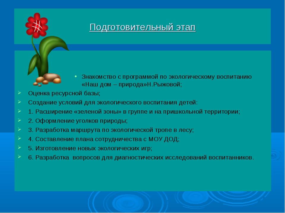 Подготовительный этап Знакомство с программой по экологическому воспитанию «Н...