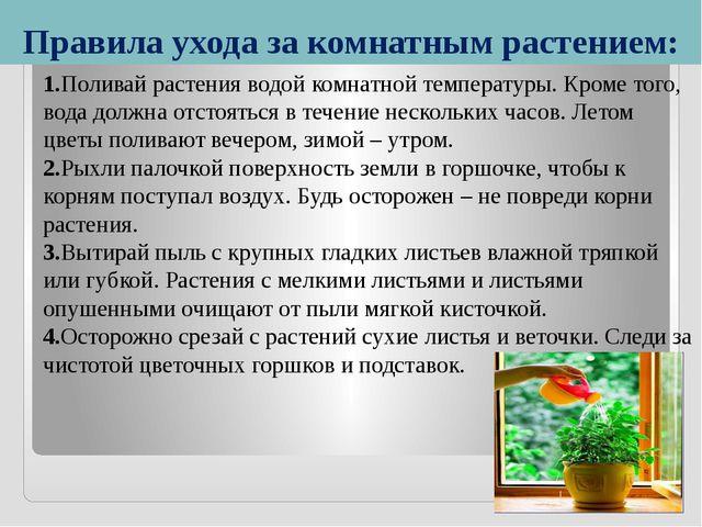Правила ухода за комнатным растением: 1.Поливай растения водой комнатной темп...