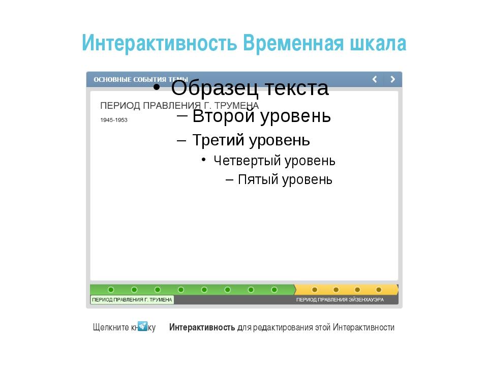 Интерактивность Временная шкала Щелкните кнопку Интерактивность для редактир...