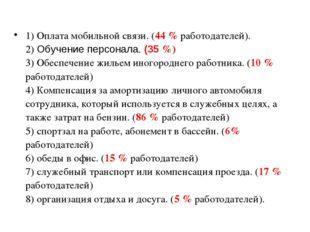 1) Оплата мобильной связи. (44% работодателей). 2) Обучение персонала. (35%