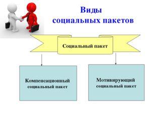 Виды социальных пакетов Мотивирующий социальный пакет Компенсационный социаль