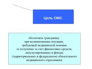 Цель ОМС обеспечить гражданину при возникновении ситуации, требующей медицин