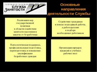 Основные  направления деятельности Службы Реализация мер государственной п