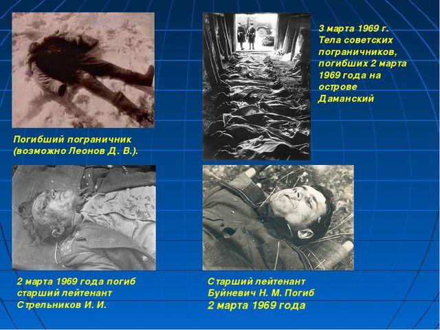 Погибший пограничник (возможно Леонов Д. В.). 3 марта 1969 г. Тела советских...