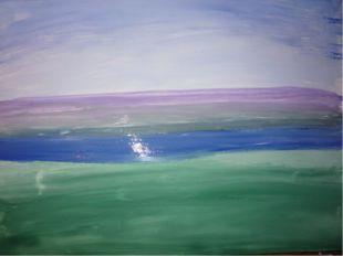 Смешали синий и белила, голубым цветом нарисовали озеро.
