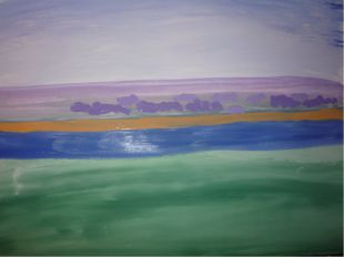 Рисуем кусты на втором плане, а так же светлым фиолетовым