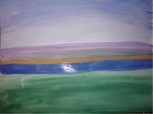 Смешали охру (желтый цвет) с белилами – нарисовали дальний берег.