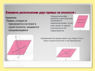 Взаимное расположение двух прямых на плоскости : Определение: Прямые, которые