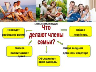 Общее хозяйство. Члены семьи ведут: Живут в одном доме или квартире Объединяю