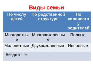 Виды семьи По числу детейПо родственной структуреПо количеству родителей Мн