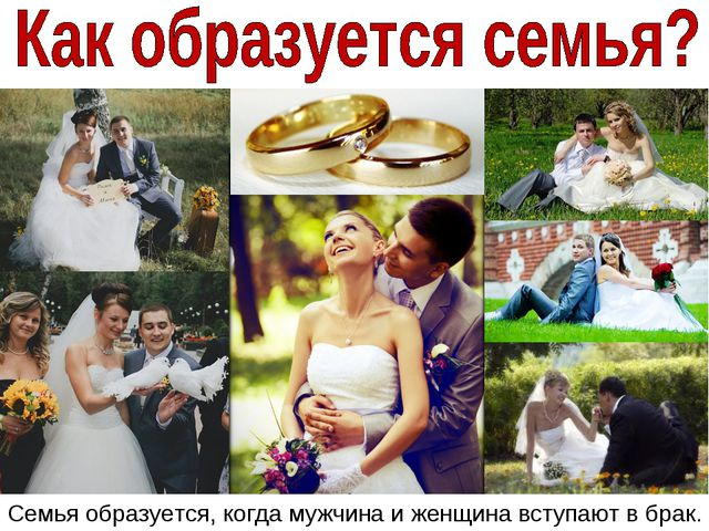 Семья образуется, когда мужчина и женщина вступают в брак.