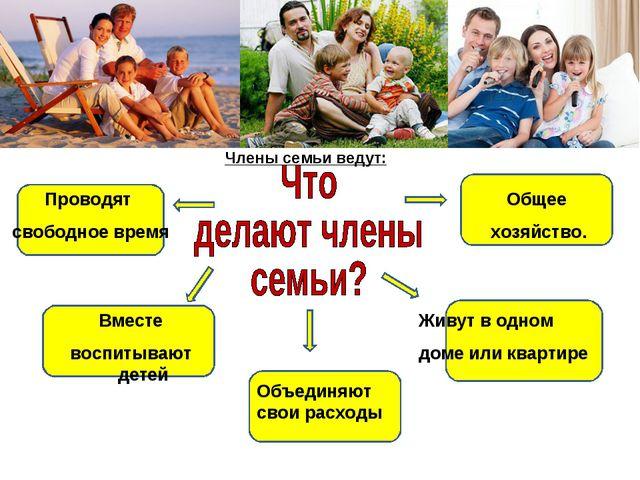 Общее хозяйство. Члены семьи ведут: Живут в одном доме или квартире Объединяю...
