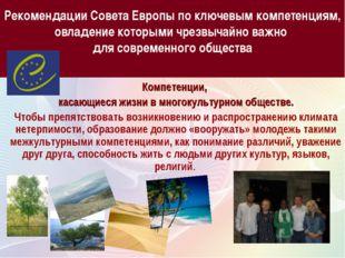 Рекомендации Совета Европы по ключевым компетенциям, овладение которыми чрезв