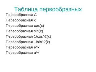 Таблица первообразных Первообразная С Первообразная х Первообразная cos(x) Пе