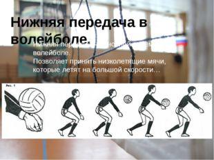 Нижняя передача в волейболе. Нижняя передача – основной прием в волейболе. По