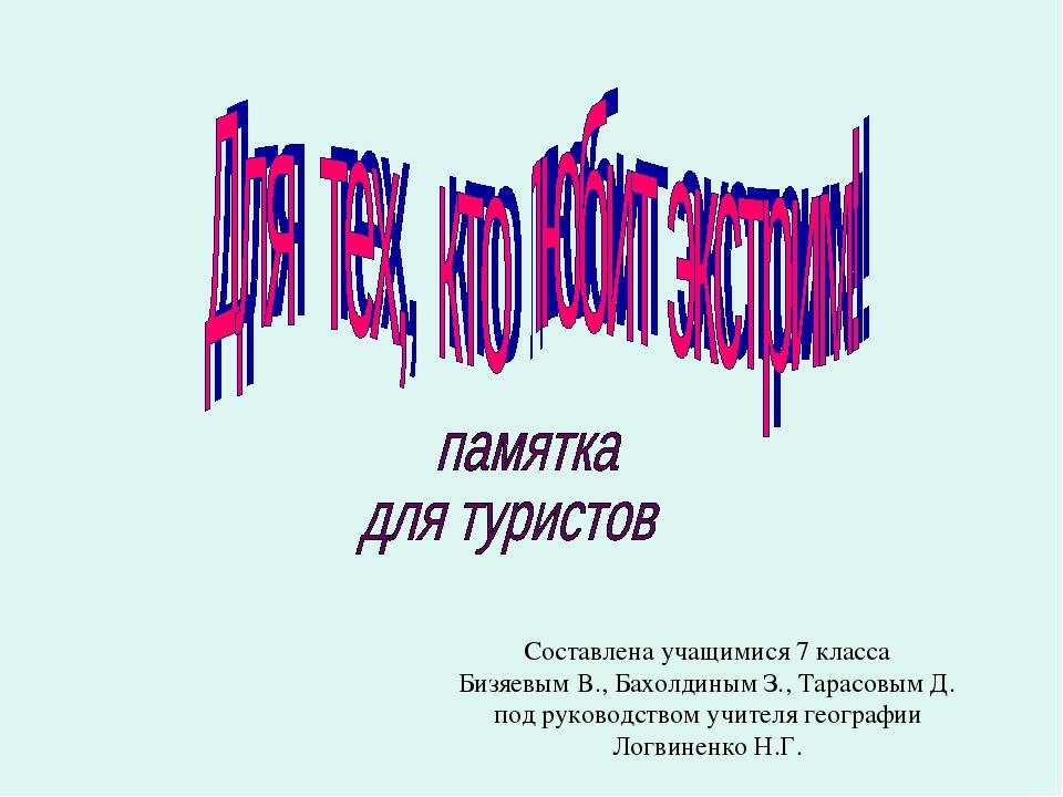 Составлена учащимися 7 класса Бизяевым В., Бахолдиным З., Тарасовым Д. под ру...