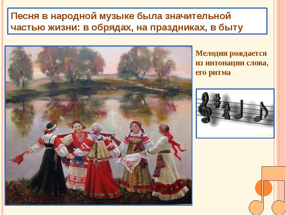 Песня в народной музыке была значительной частью жизни: в обрядах, на праздни...