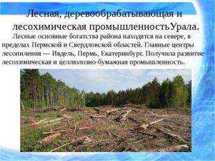 Лесные основные богатства района находятся на севере, в пределах Пермской и