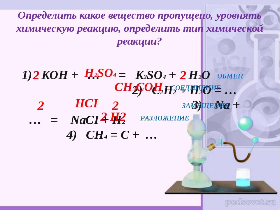 Определить какое вещество пропущено, уровнять химическую реакцию, определить...