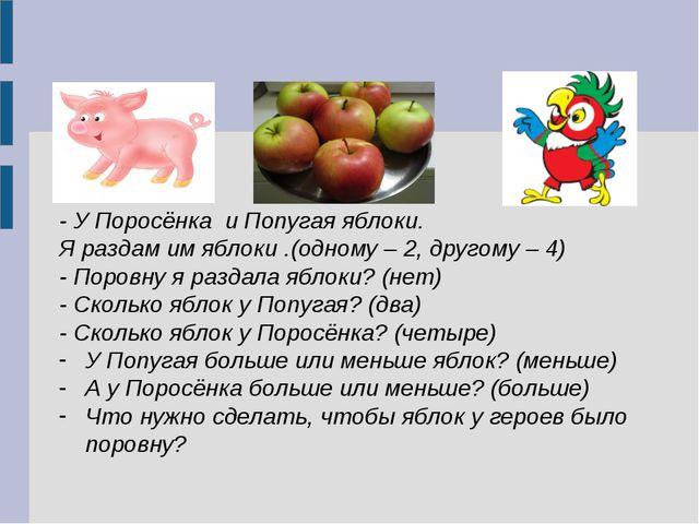 - У Поросёнка и Попугая яблоки. Я раздам им яблоки .(одному – 2, другому – 4...