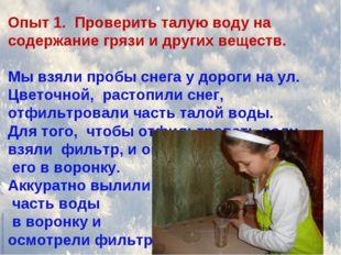 Опыт 1. Проверить талую воду на содержание грязи и других веществ. Мы взяли