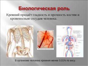 Кремний придаёт гладкость и прочность костям и кровеносным сосудам человека.