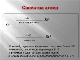 Si0 - 4е восстановитель + 4е окислитель Si+4 Si-4 Кремний, отдавая все внешн